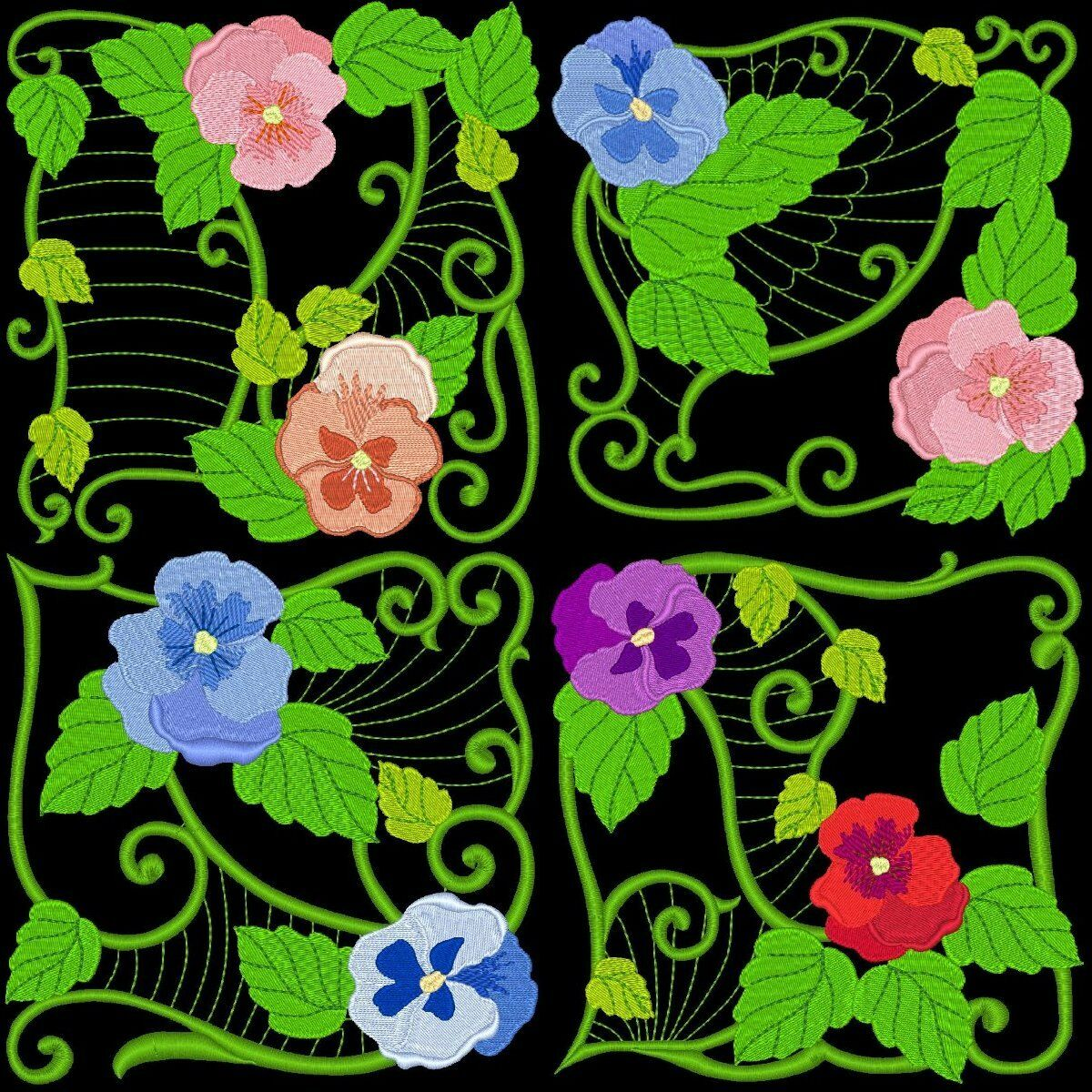 Pansy blocks machine embroidery designs azeb £