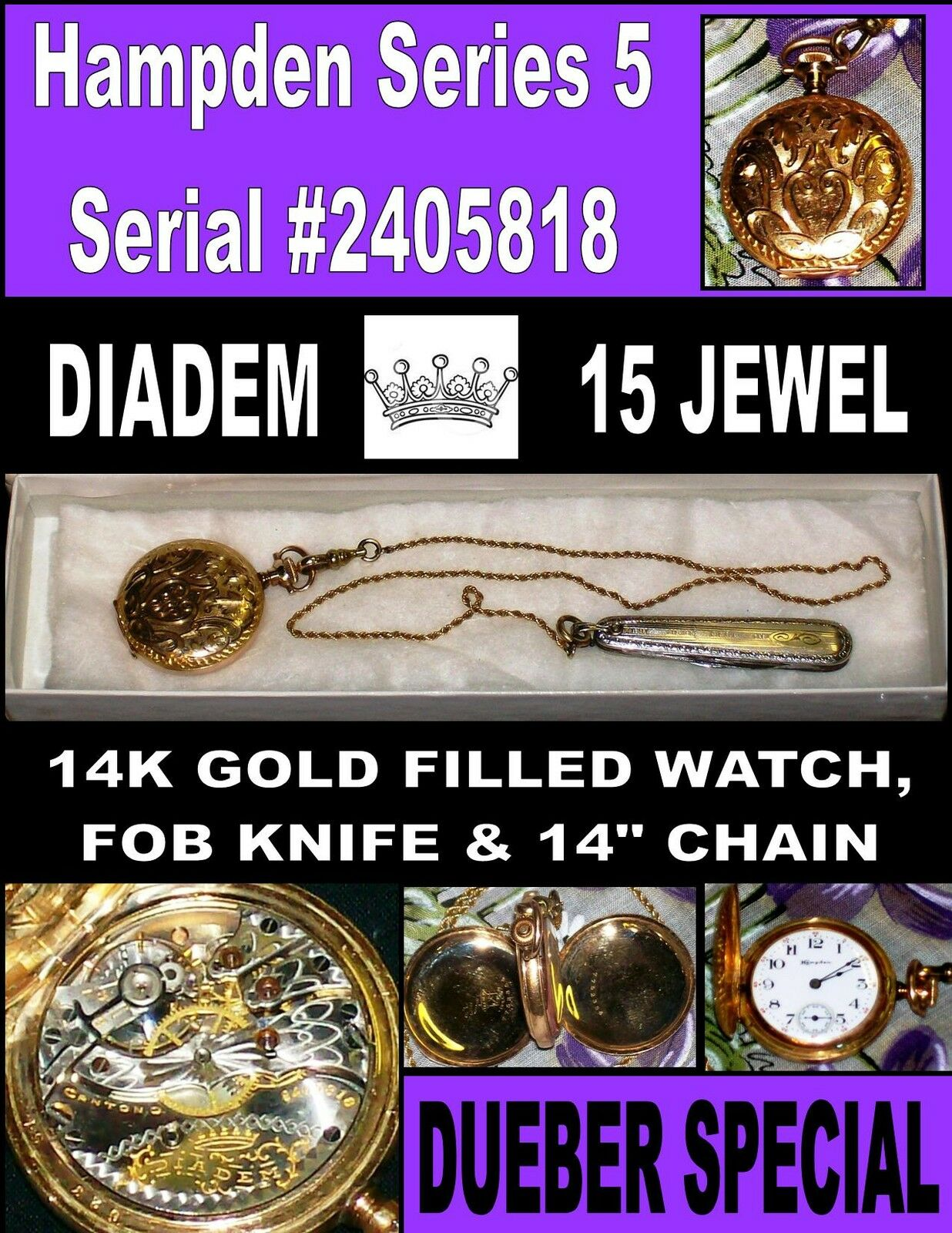 Dueber Special Series (5) 15J Cir-1908 Ladies Watch Antique Gold Filled Pendant