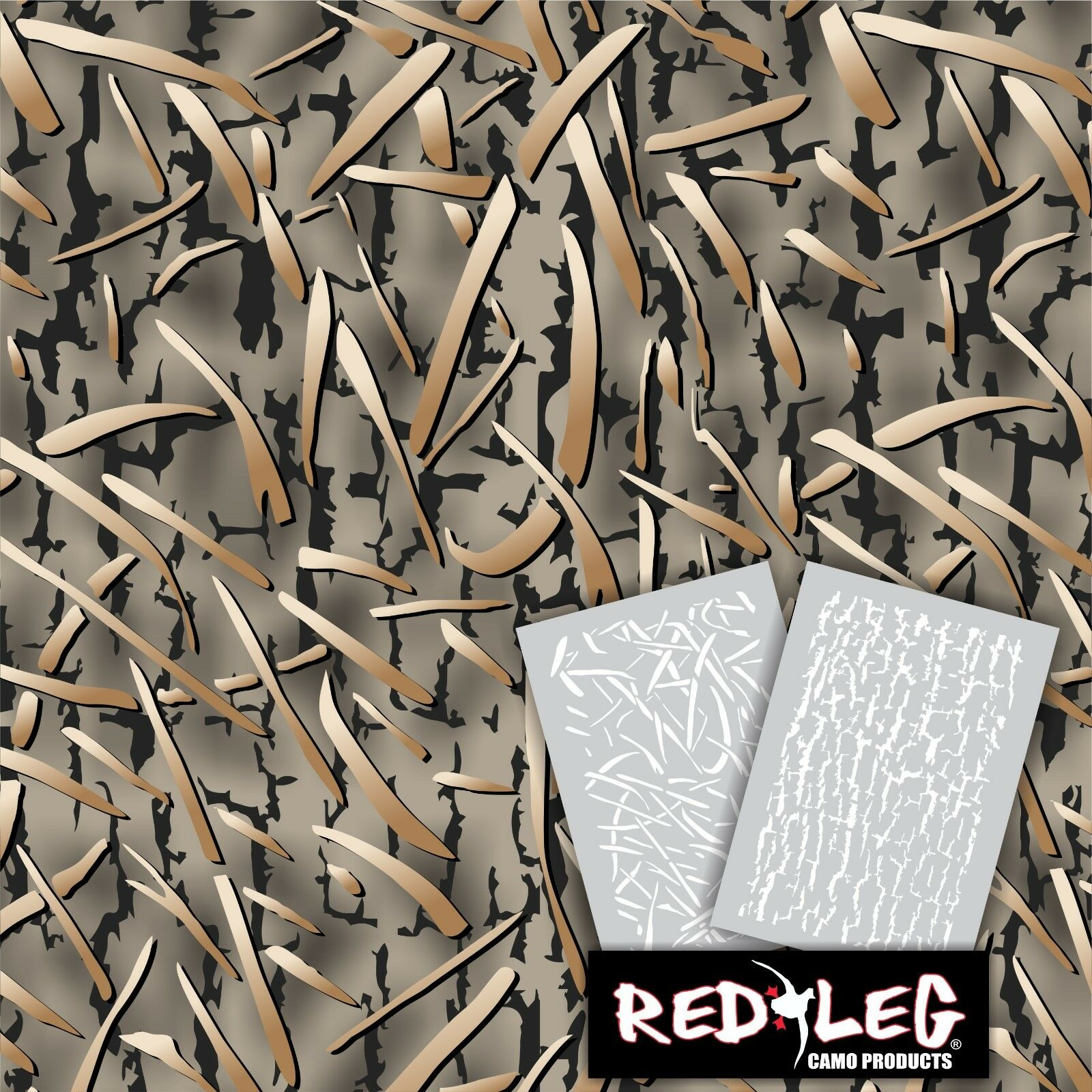 Redleg camo dg2 grass camouflage stencil kit 18x26 duck for Camo paint template