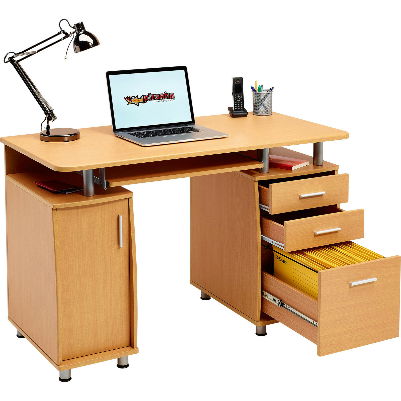 large computer desk with drawer and cupboard piranha furniture beech effect pc2b. Black Bedroom Furniture Sets. Home Design Ideas