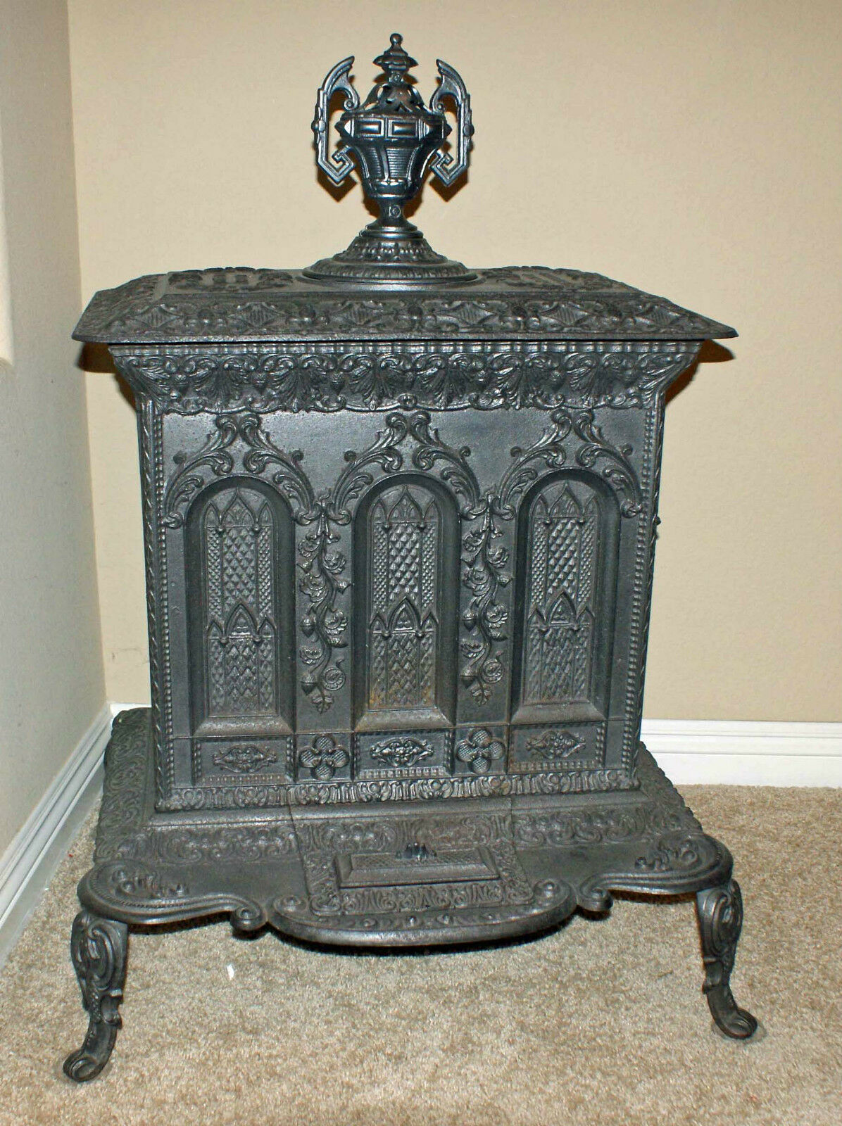 Antique Cast Iron ~ Antique cast iron quot a quackenboss cathedral style