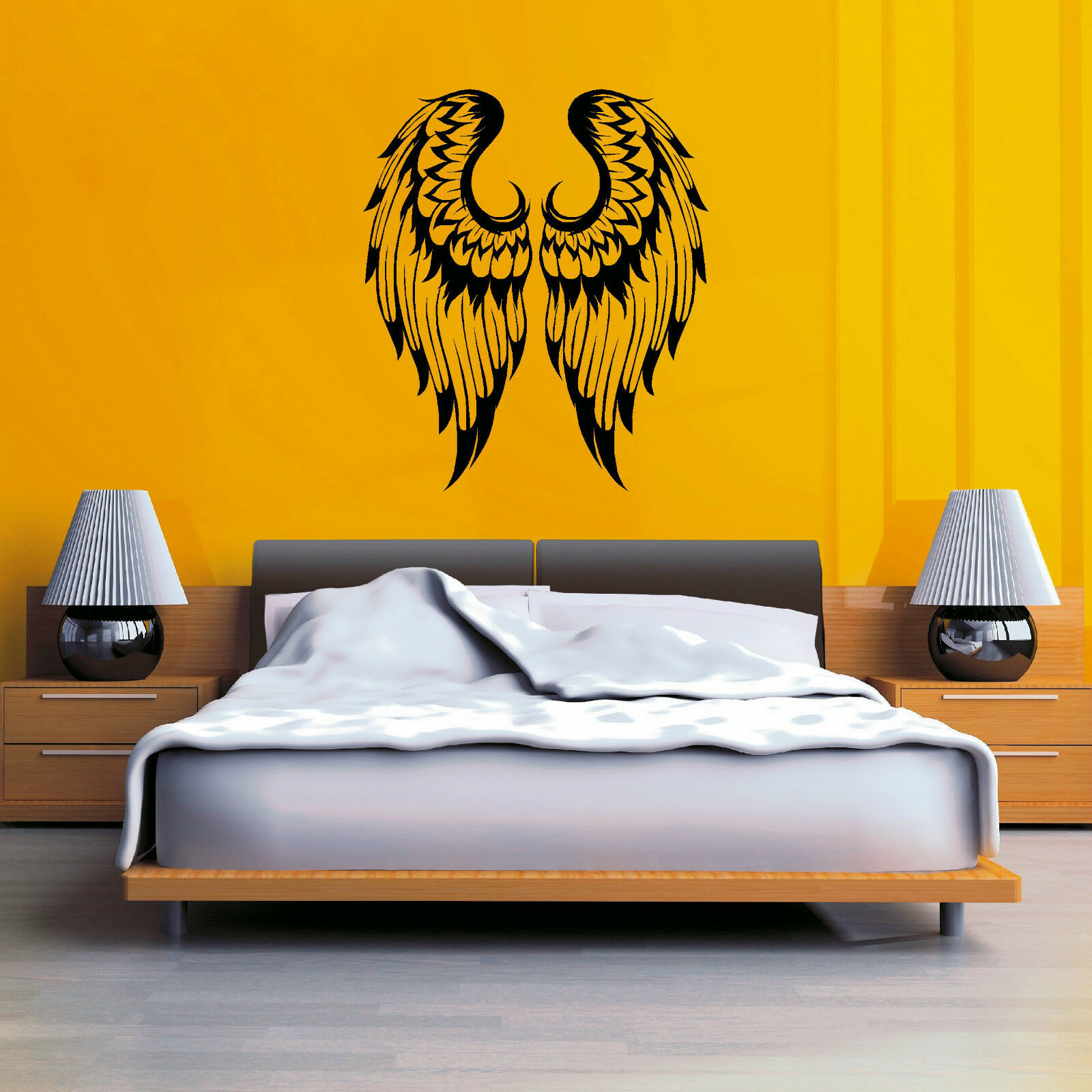 ANGEL WINGS PAIR GOTHIC vinyl wall art sticker decal - $7.76   PicClick