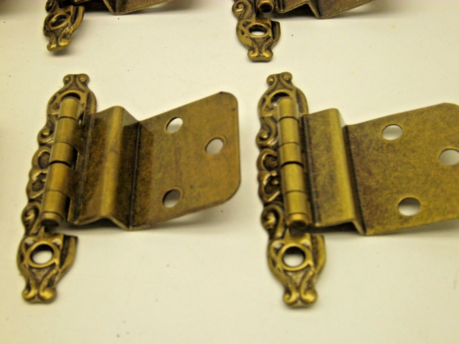 NOS VINTAGE LOT OF 10 PAIR  CABINET HINGES GOLD ANTIQUE  BRASS finish X