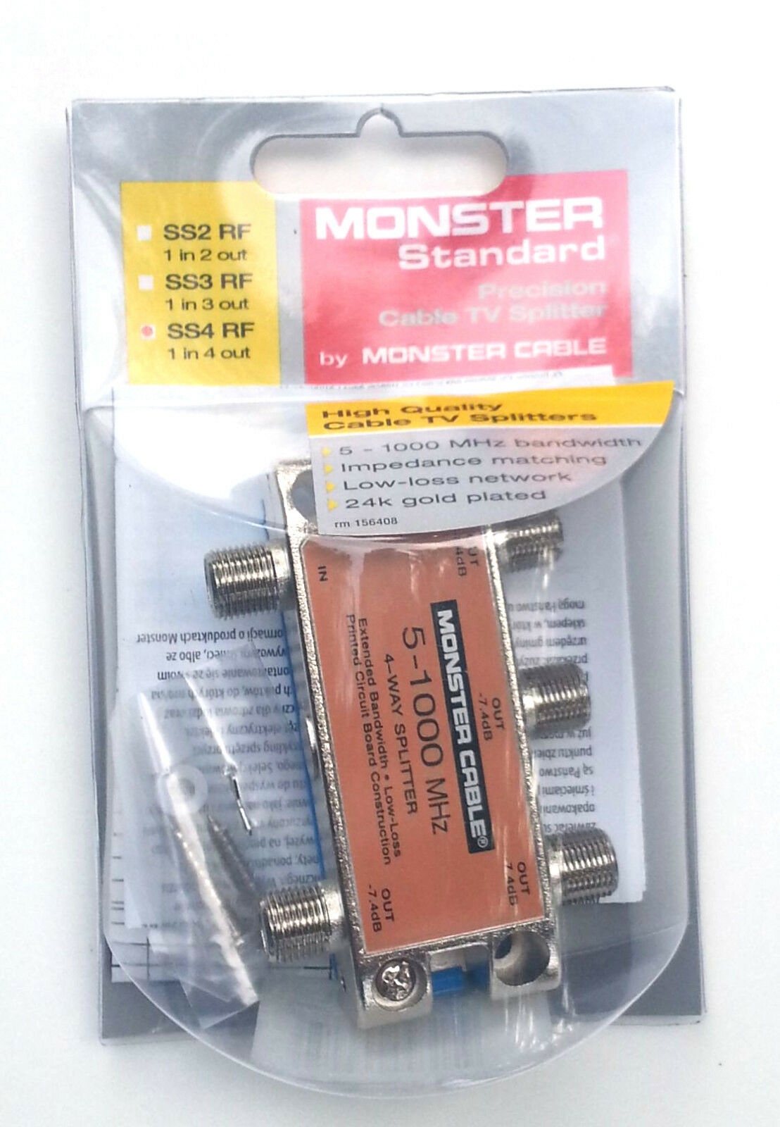 Monster Cable Standard Tv Rf Coax Splitter 1 In 4 Out 359 Picclick Trouble With Using Vcr And Of 1free Shipping