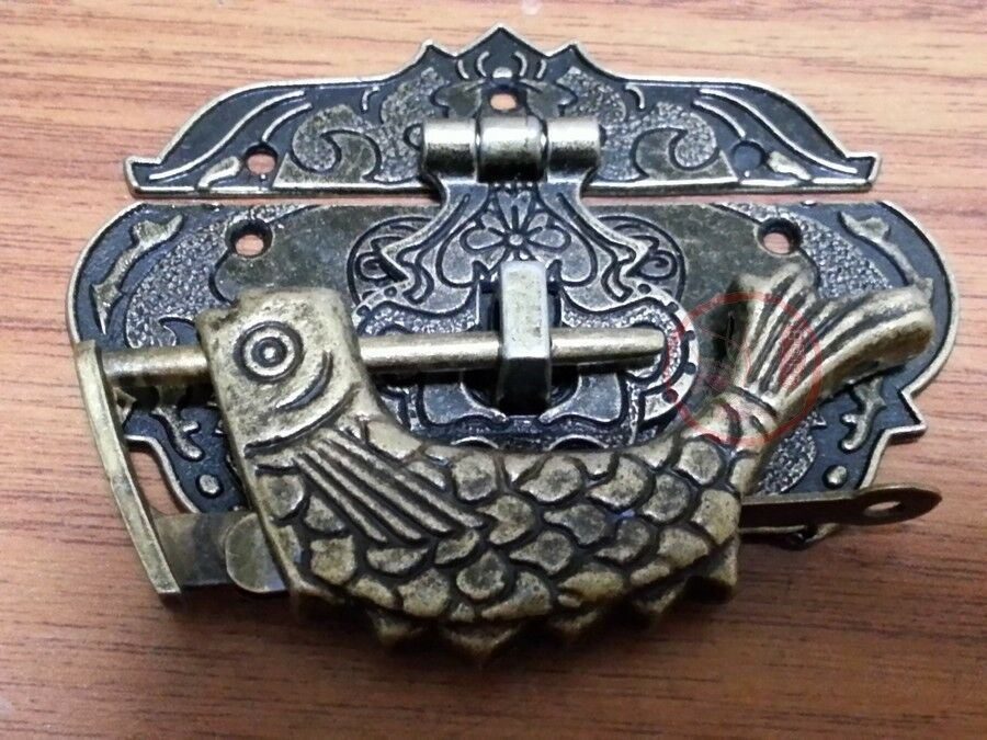 Chinese Old Fire Totem Lock Latch & Carved Fish Lock For Furniture Jewelry Box