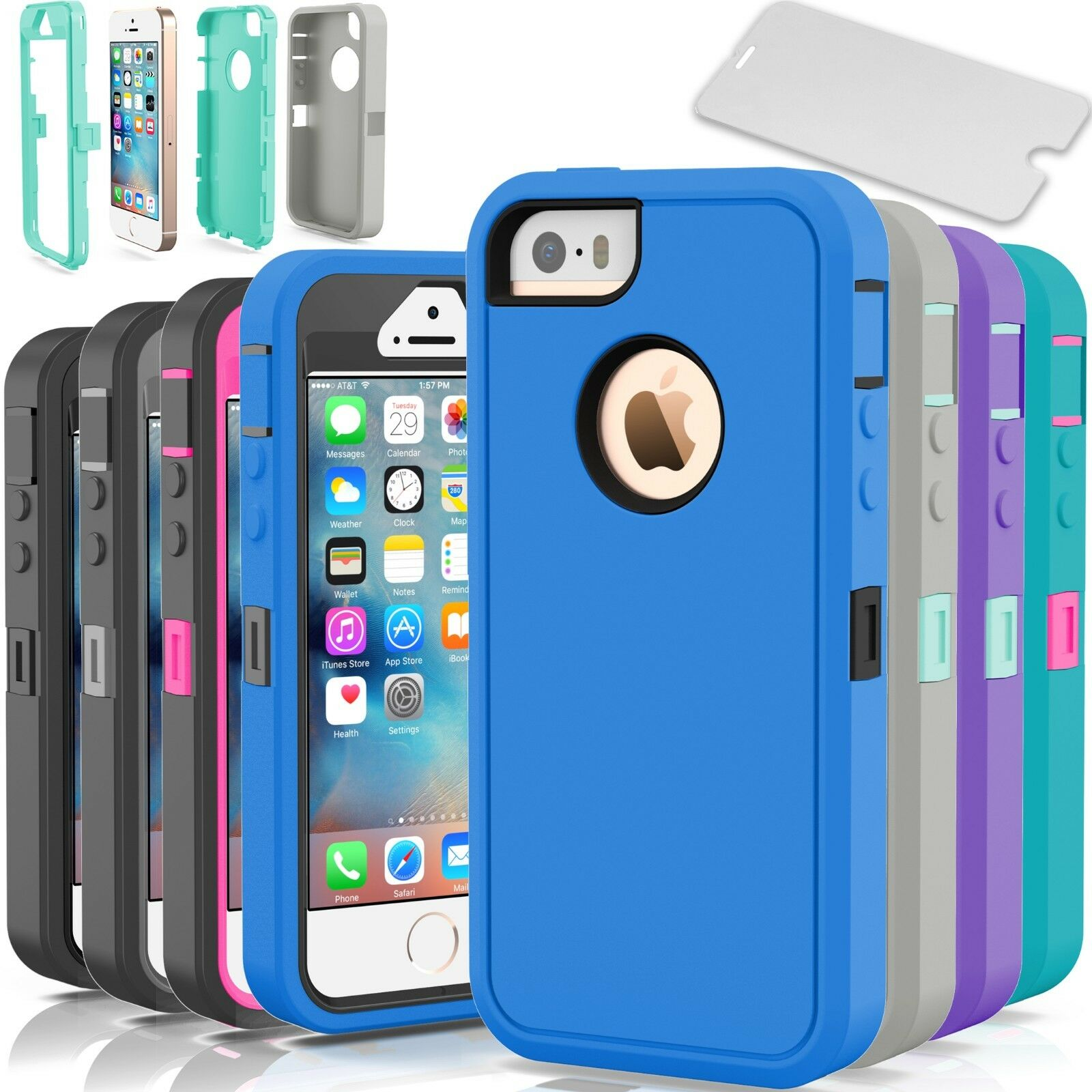 Shockproof Hybrid Rugged Skin Hard Armor Case Cover For Le Iphone 5c 5 5s Se 1 Of 12free Shipping