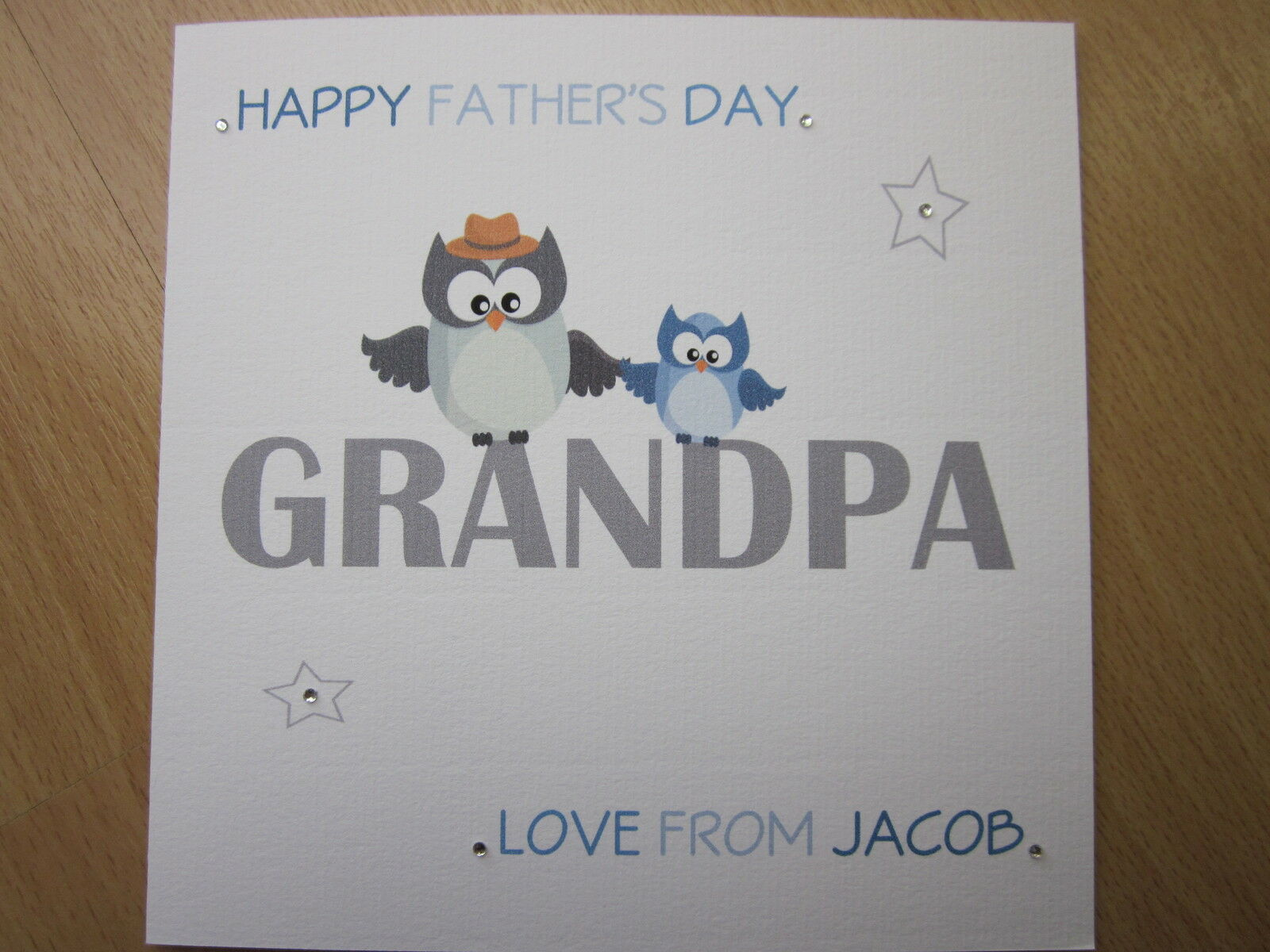 personalised handmade owl grandpa father s fathers day card