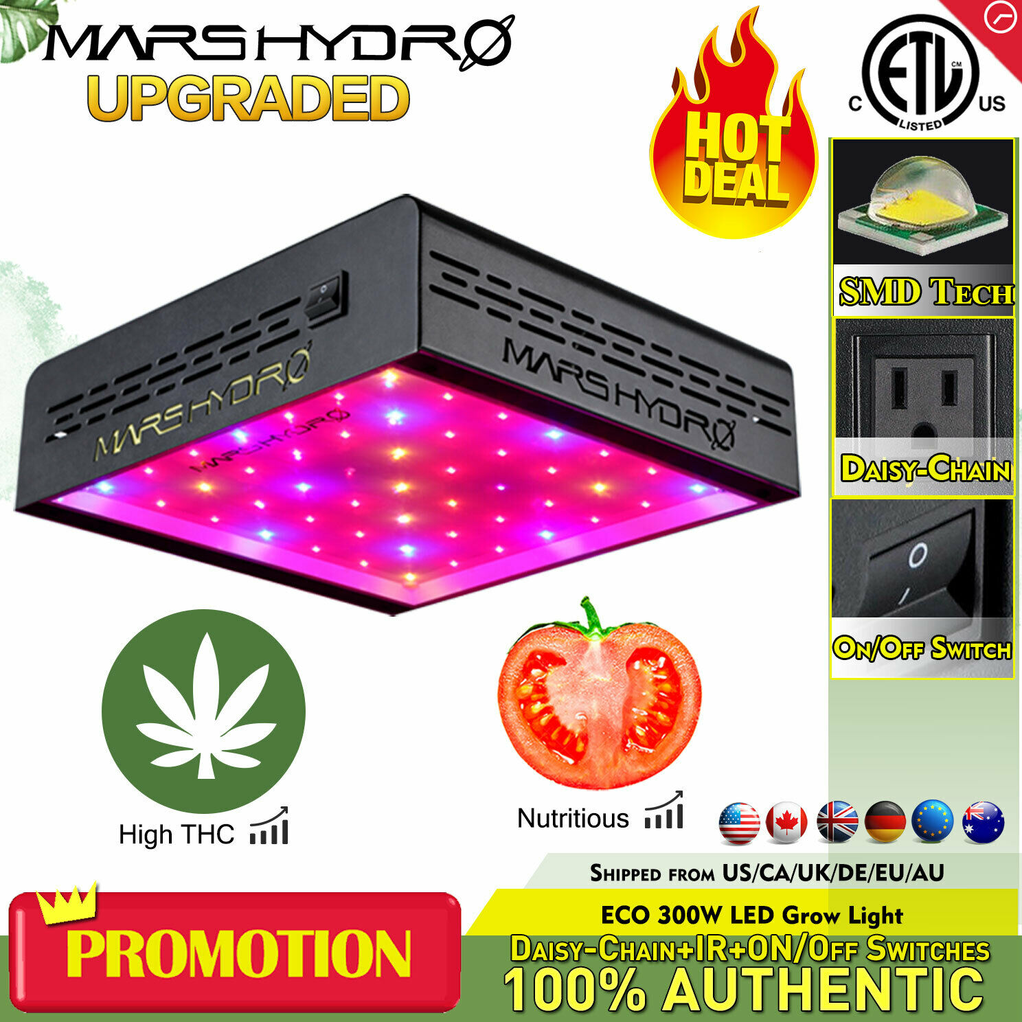 Mars 300w Led Grow Light Kit Hydro Full Spectrum Indoor