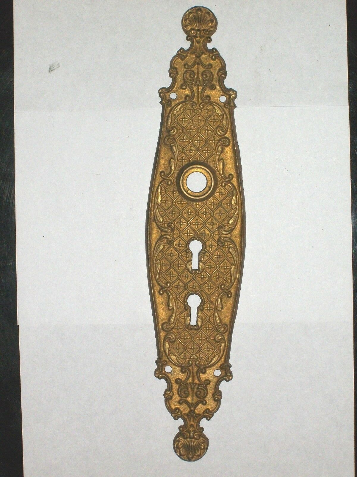"""Antique Victorian Entry Door Knob Back Plate 11 1/2"""" x 2 1/2"""" Stamped 0254"""