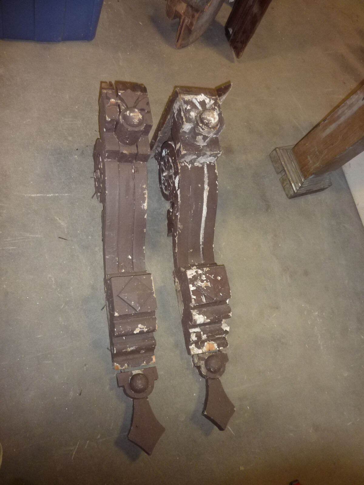 LARGE pair c1870 GOTHIC victorian GINGERBREAD corbel house brackets 38 x 19 x7""