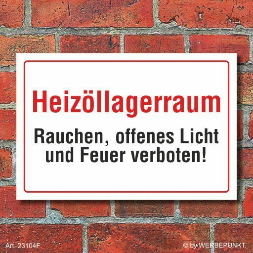 schild heiz llagerraum rauchen offenes licht und feuer verboten 3 mm alu ver eur 6 97. Black Bedroom Furniture Sets. Home Design Ideas