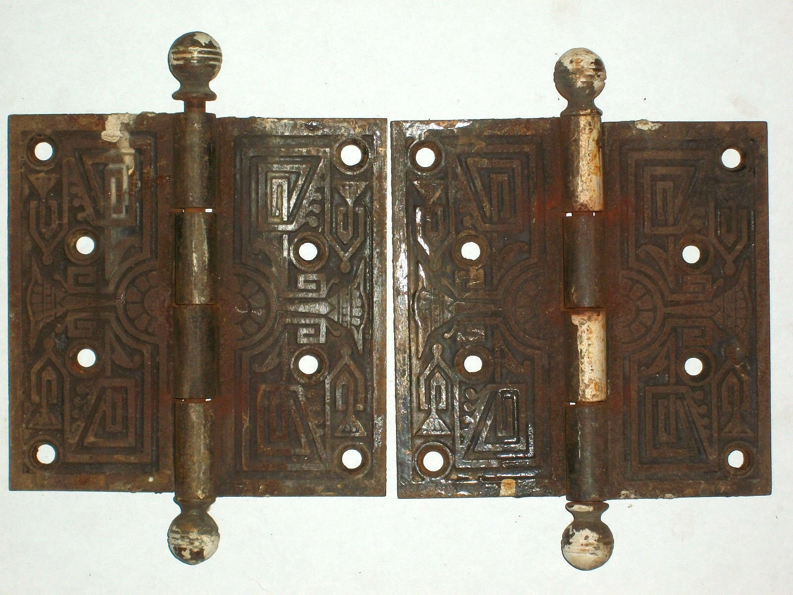 Antique Victorian Eastlake Hinges Late 1800's  Extra Large