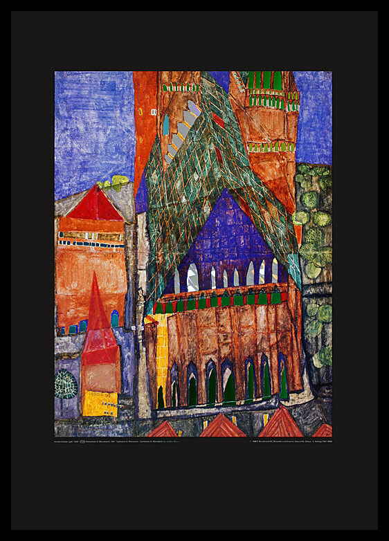 hundertwasser kathedrale marrakesch poster bild kunstdruck im alu rahmen 80x60cm eur 119 95. Black Bedroom Furniture Sets. Home Design Ideas