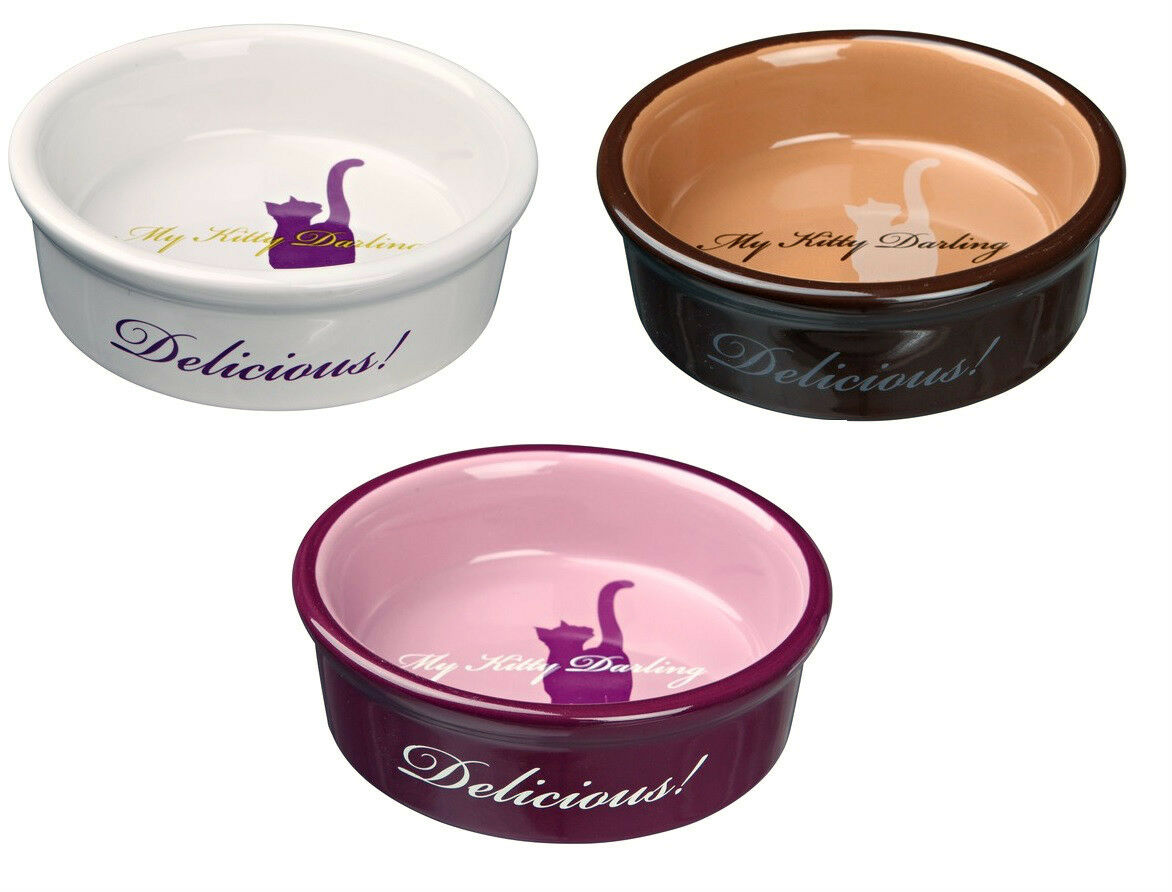 Ceramic Cat Bowl Choose from 3 Colours My Kitty Darling Food Water Bowls 13cm