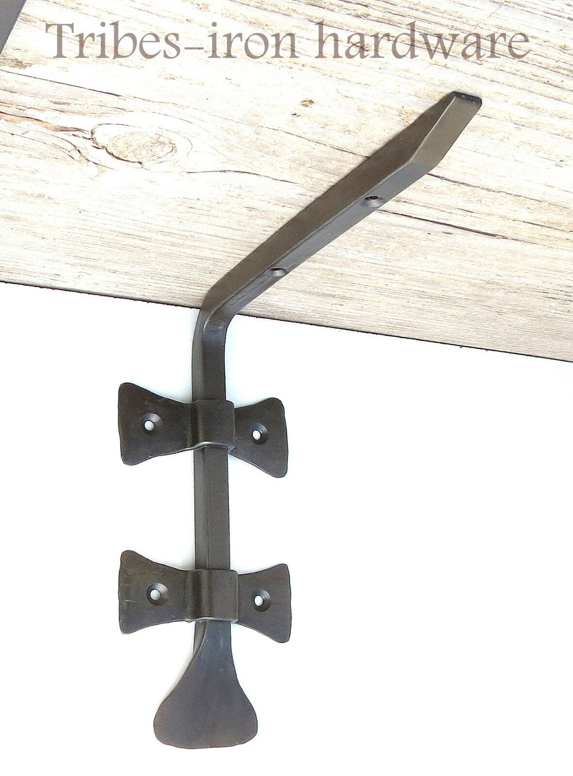 """2 HAND FORGED 6.8"""" SHELF BRACKETS WROUGHT IRON Country Antique Wall Decor Holder"""