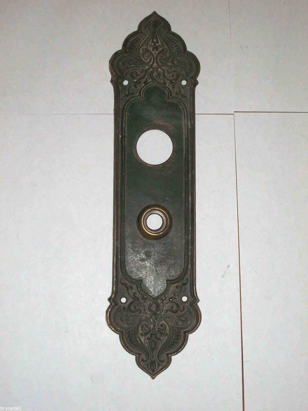 Antique Victorian Entry Door Knob Backplate stamped 87129 87190
