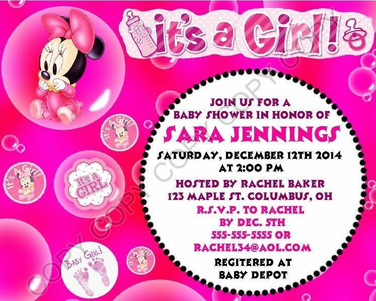 Minnie mouse baby shower invitations 12 pk personalized its a girl minnie mouse baby shower invitations 12 pk personalized its a girl 1 of 5free shipping filmwisefo