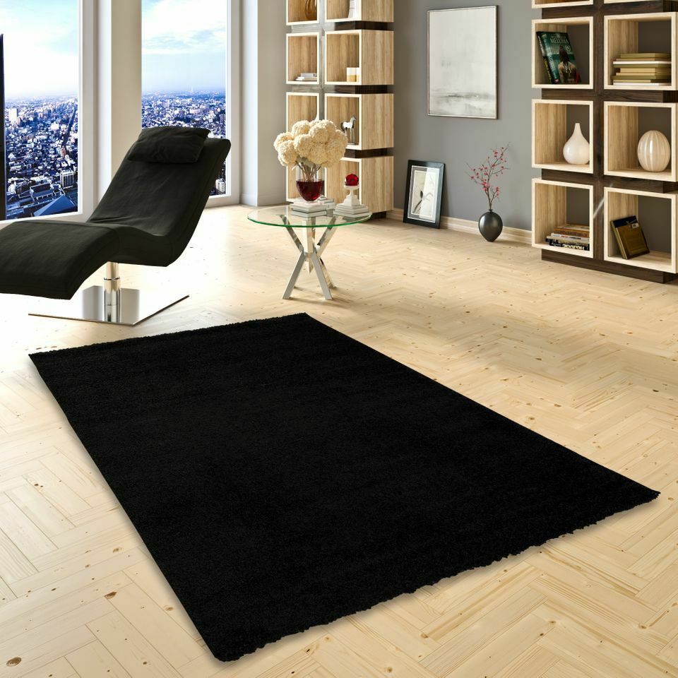 hochflor langflor shaggy teppich aloha schwarz eur 16 90 picclick de. Black Bedroom Furniture Sets. Home Design Ideas