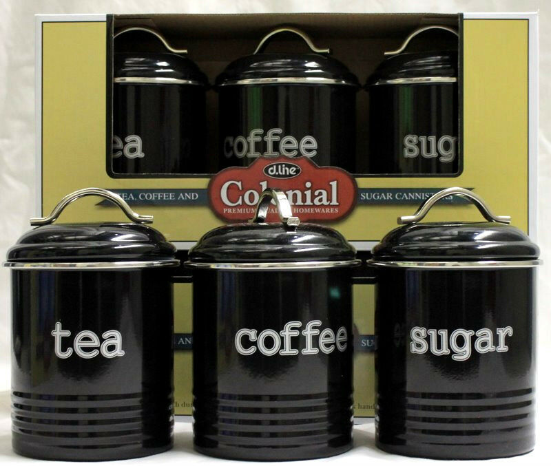 Black set of 3 tea coffee and sugar canisters new modern retro kitchen decor - Modern tea and coffee canisters ...