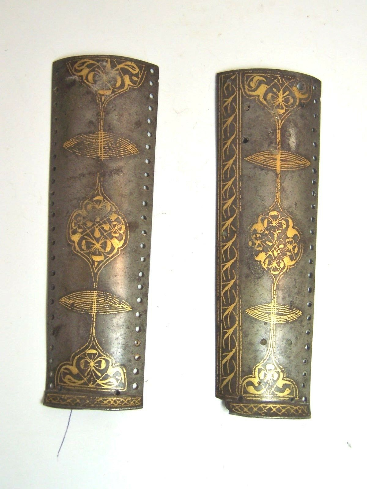 Antique Mughal India or Persian pair gold inlaid armour parts 19th century
