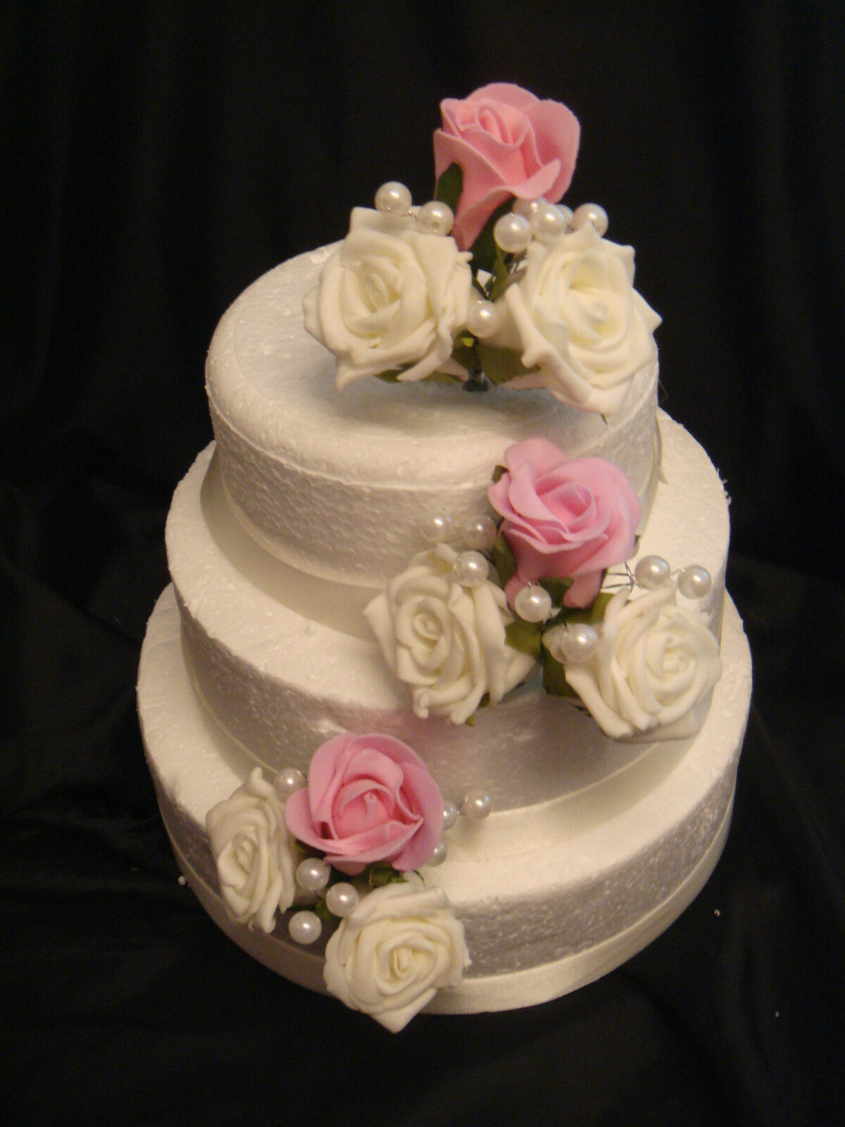 red and white wedding cake toppers 3 pink and ivory white pearl ribbon wedding side cake 19106
