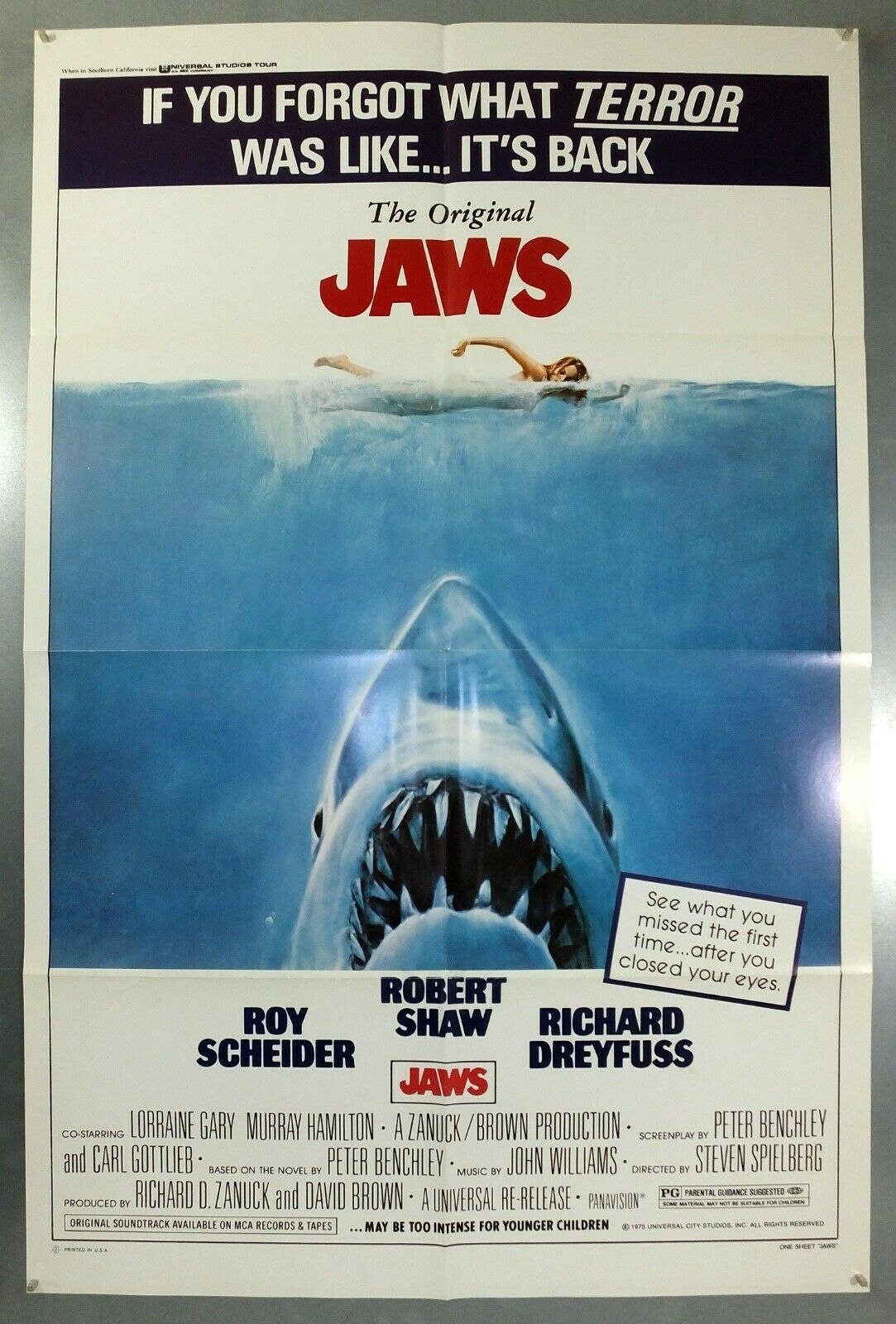 JAWS - ROY Scheider / Robert Shaw- Original American One ...