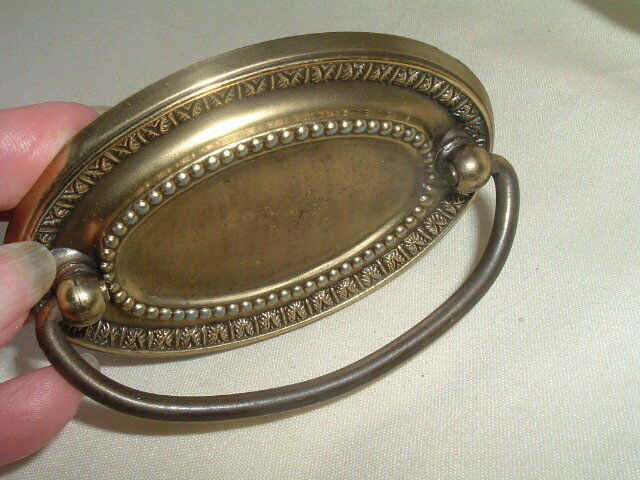 """Classic Large Colonial Beaded Brass 4"""" Oval Drawer Pull Knob BEAUTIFUL"""