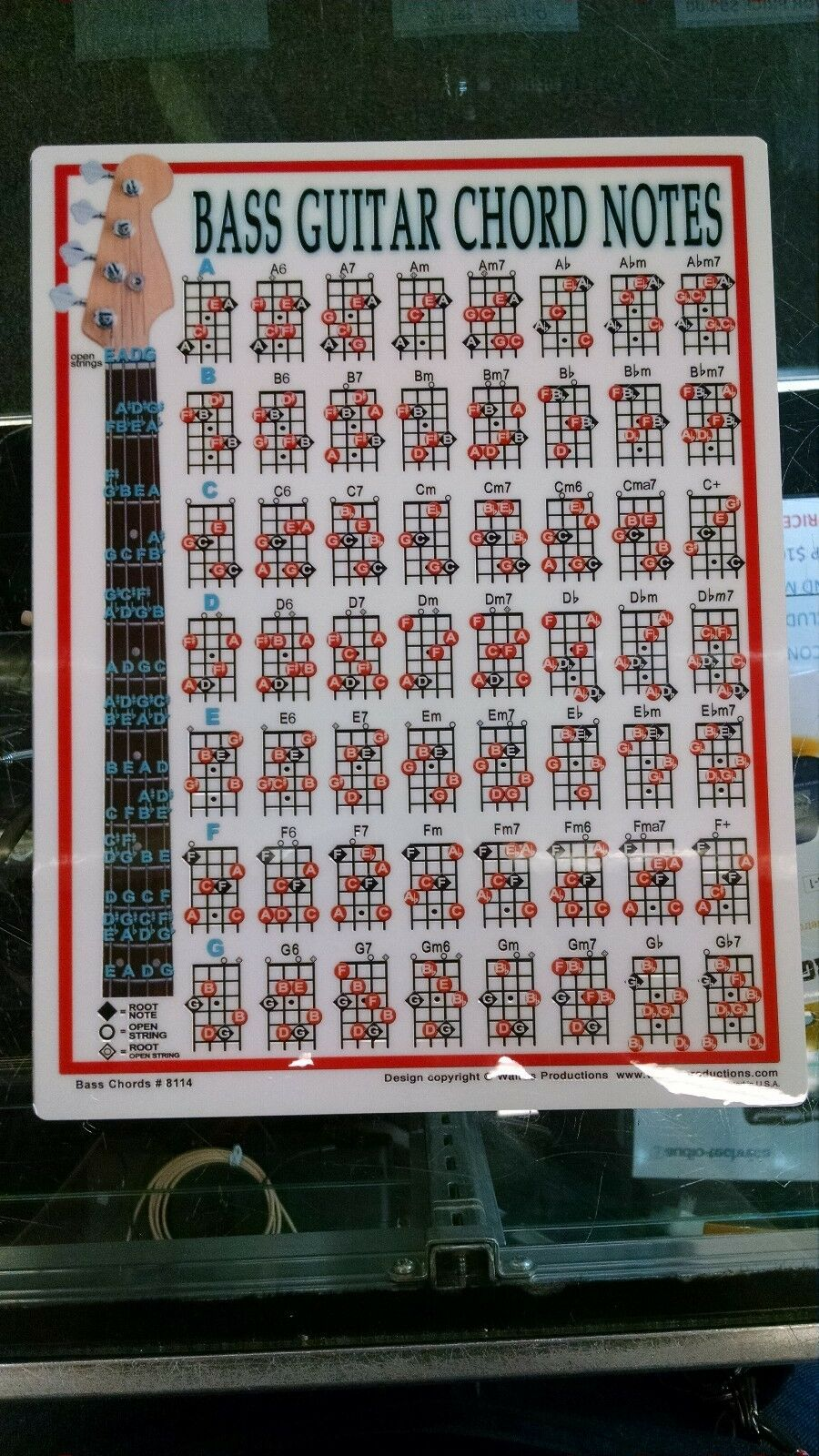 Bass Guitar Chord Chart Portable Beginner Notes Diagram Fingerings