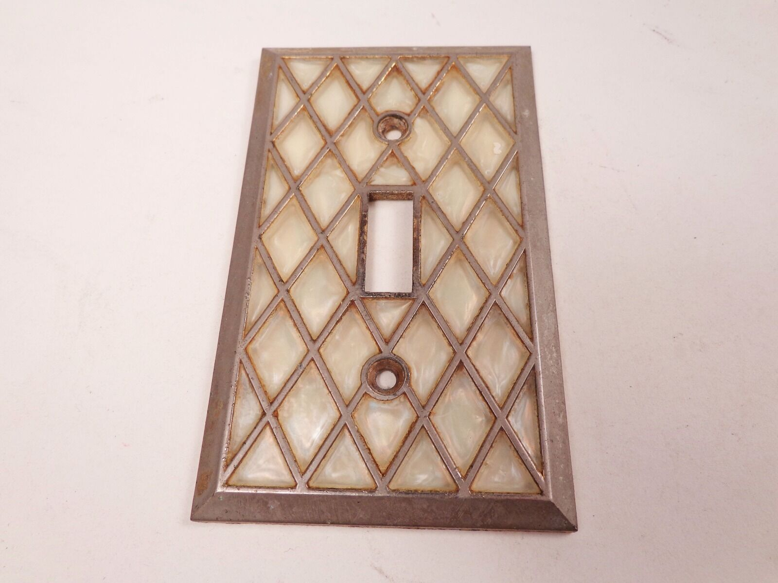Faux Mother of Pearl Diamond Pattern Vintage Switch Plate