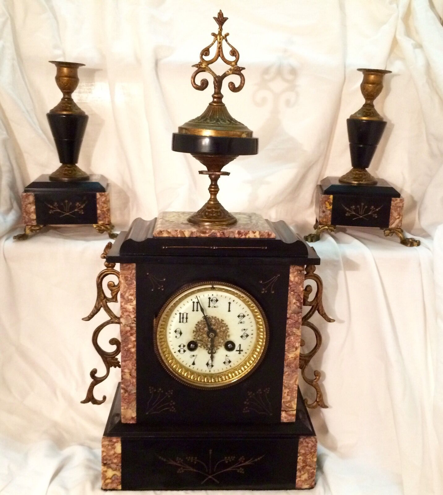 Antique J.Freres Clock & Garniture (Marble/Slate) French 1855-75 Rare Signed VGC