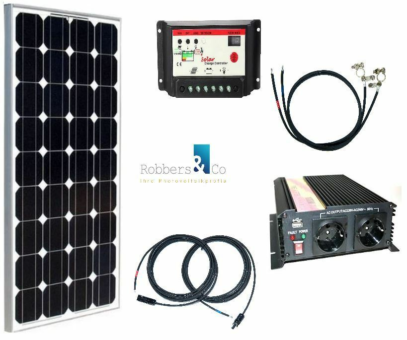 100 watt camping solaranlage 12volt set mit spannungswandler f r garten camping. Black Bedroom Furniture Sets. Home Design Ideas