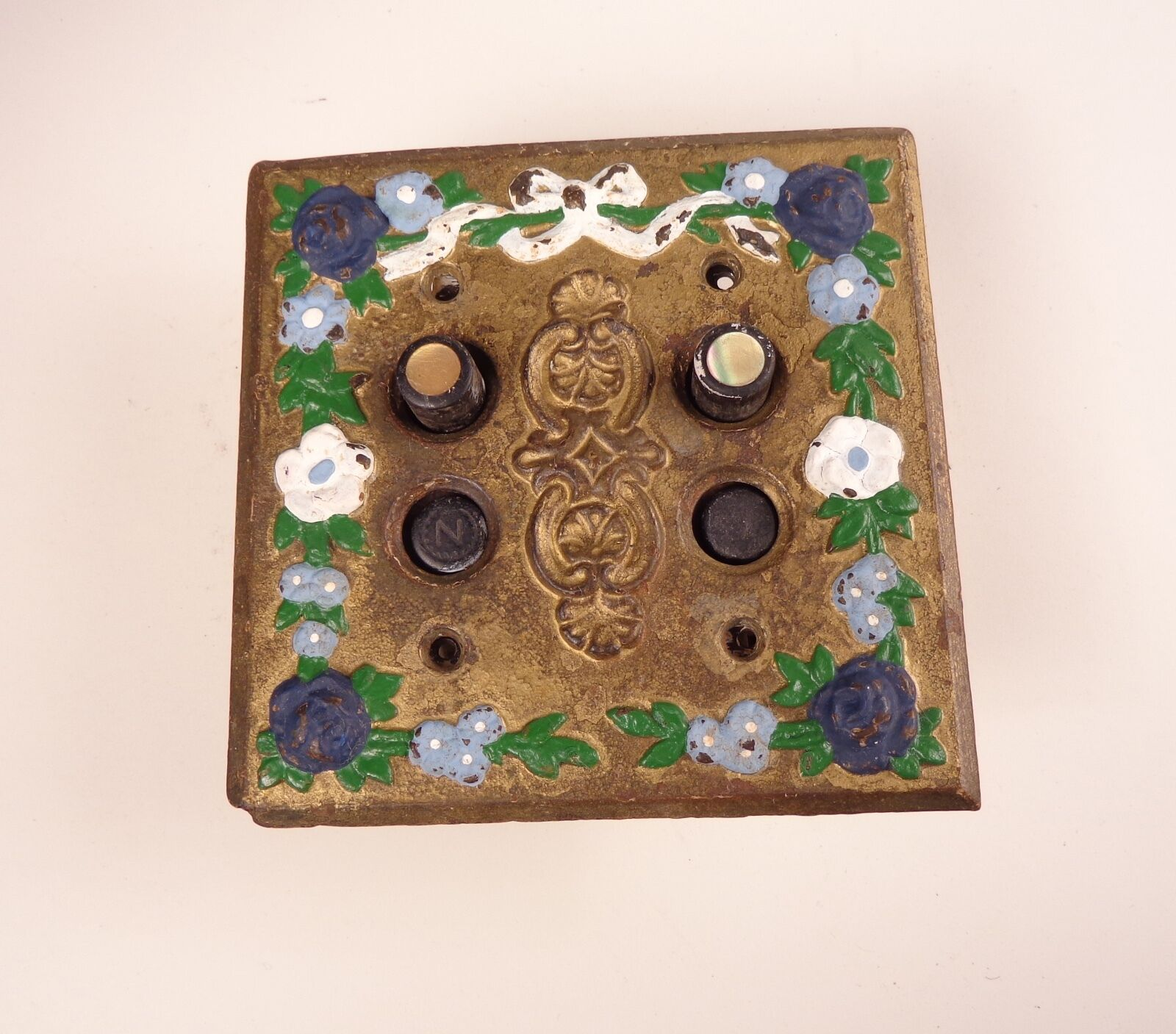 Antique  Mother of Pearl Push Button Switches and Fancy Switchplate
