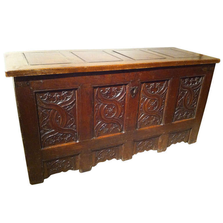 Gothic Oak Chest with Carved Linenfold Panels - Large Scale!