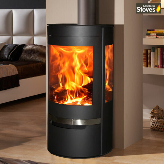 SUERTE WOOD BURNING Stove 3 Sided Contemporary Curved ...
