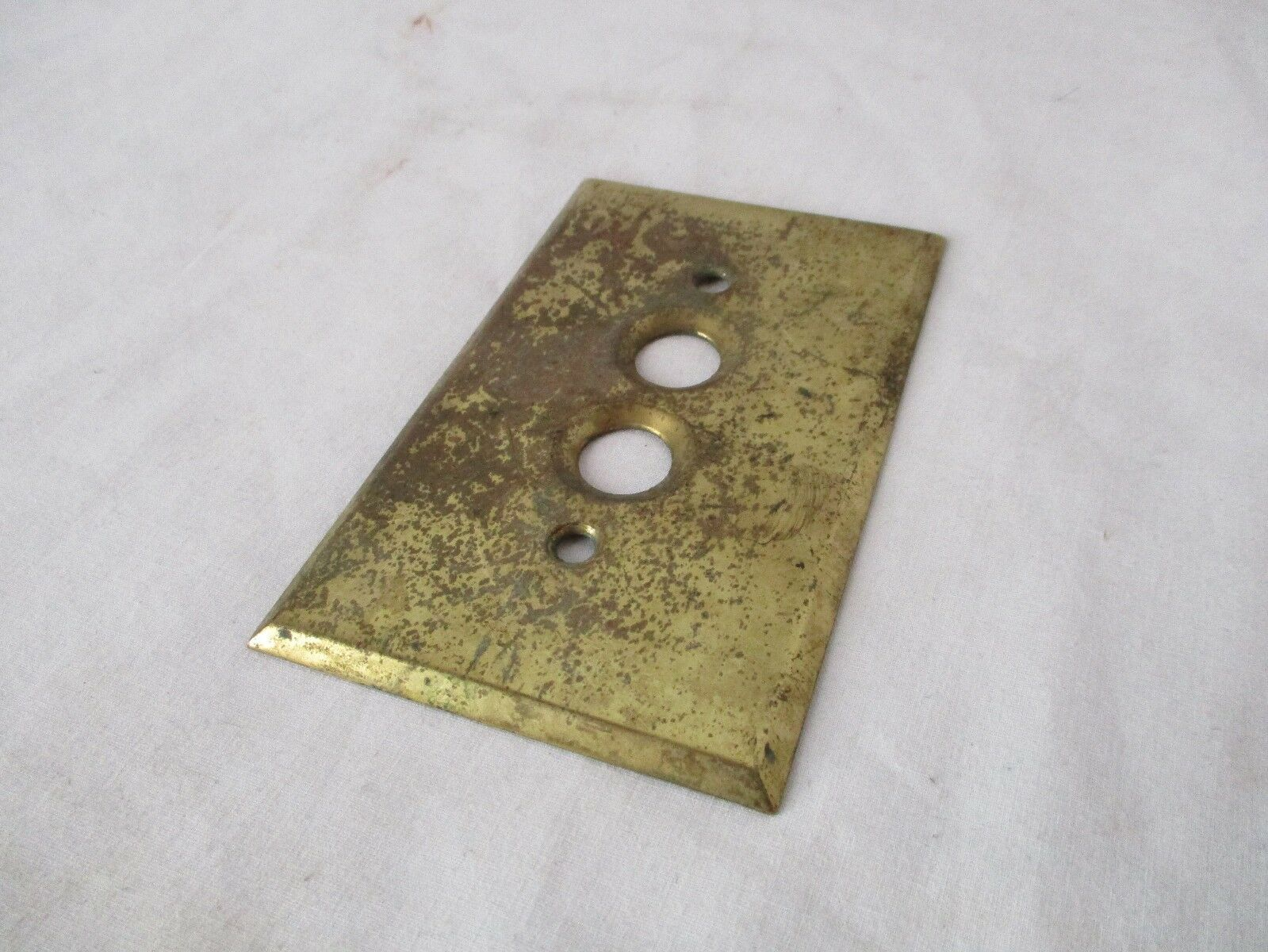 "Antique Solid Brass Switch Plate - Push Button - ""Perkins"" (#1)"