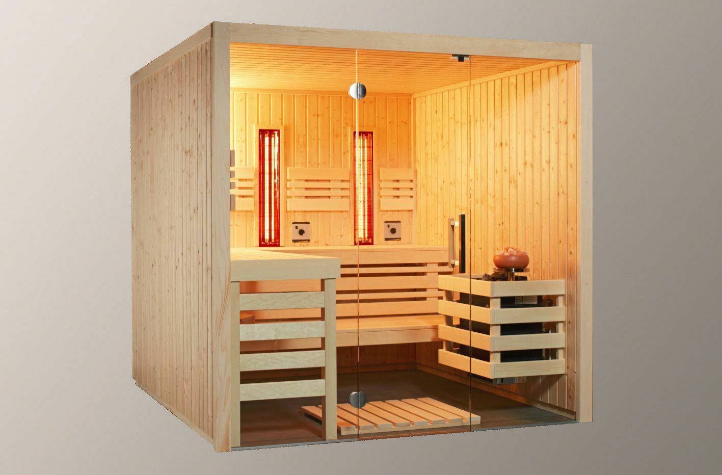 sauna mit glasfront und 2 infrarotstrahler 210 x 210 x 203 cm saunaofen bio eur. Black Bedroom Furniture Sets. Home Design Ideas