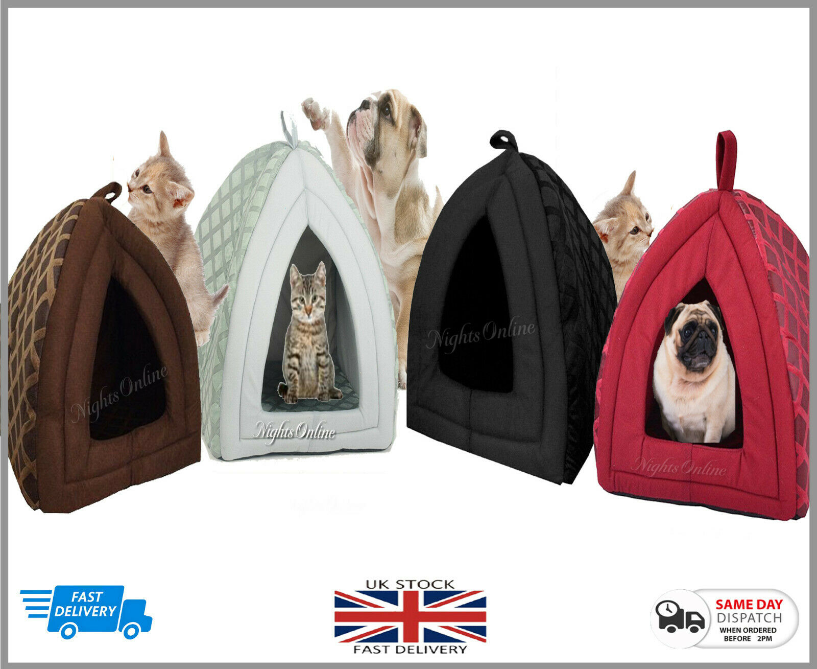 Small & Large Pet House, Soothed Comfortable Cat Dog Igloo Treat Lair