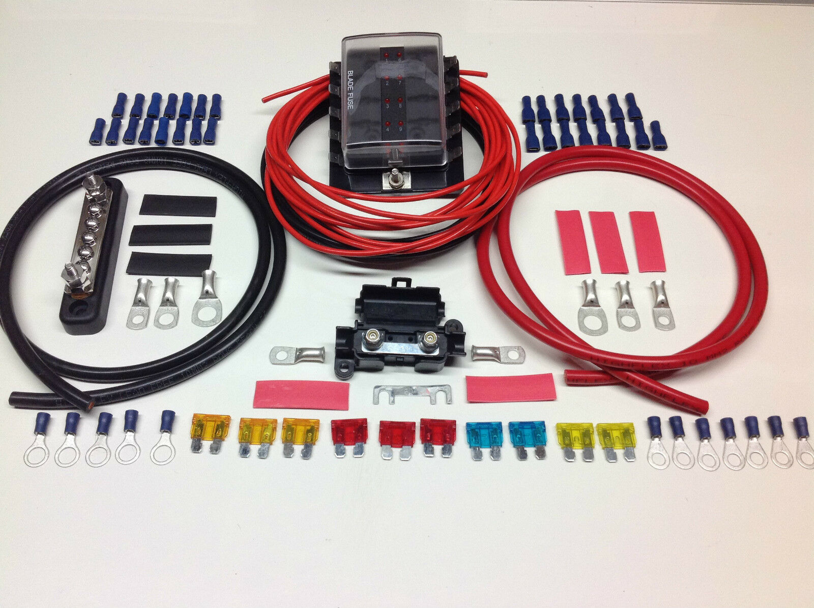 10 Way Fuse box distribution kit with Negative Bus bar cable Terminals &  Fuses 1 of 1FREE Shipping See More