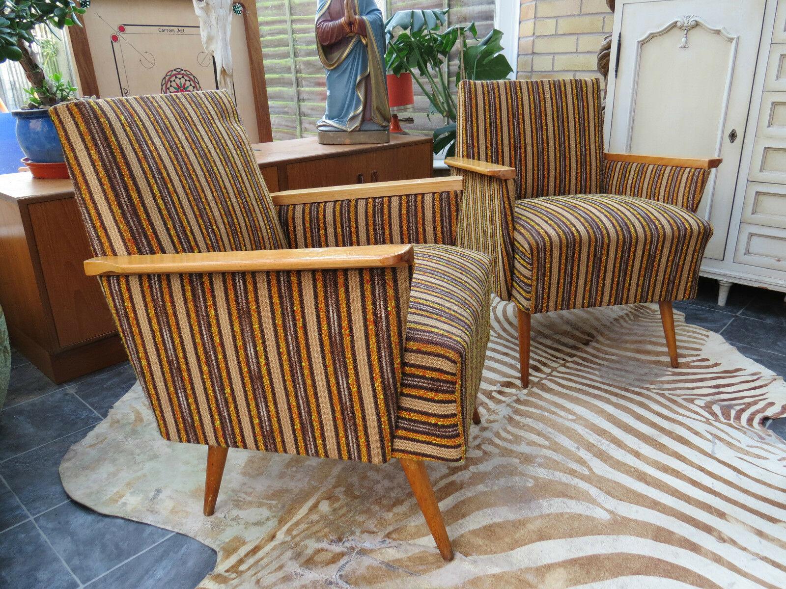 An Awesome Pair Of Striped Cocktail Lounge Armchairs C1960 Original Material