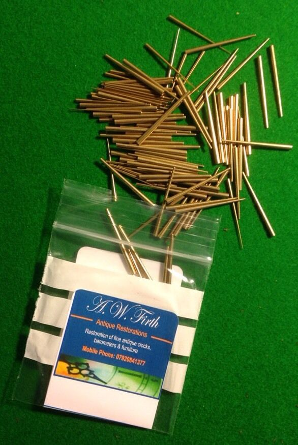 Assorted pack of 100 BRASS Tapered Clock Pins for use In Antique Clock Repair