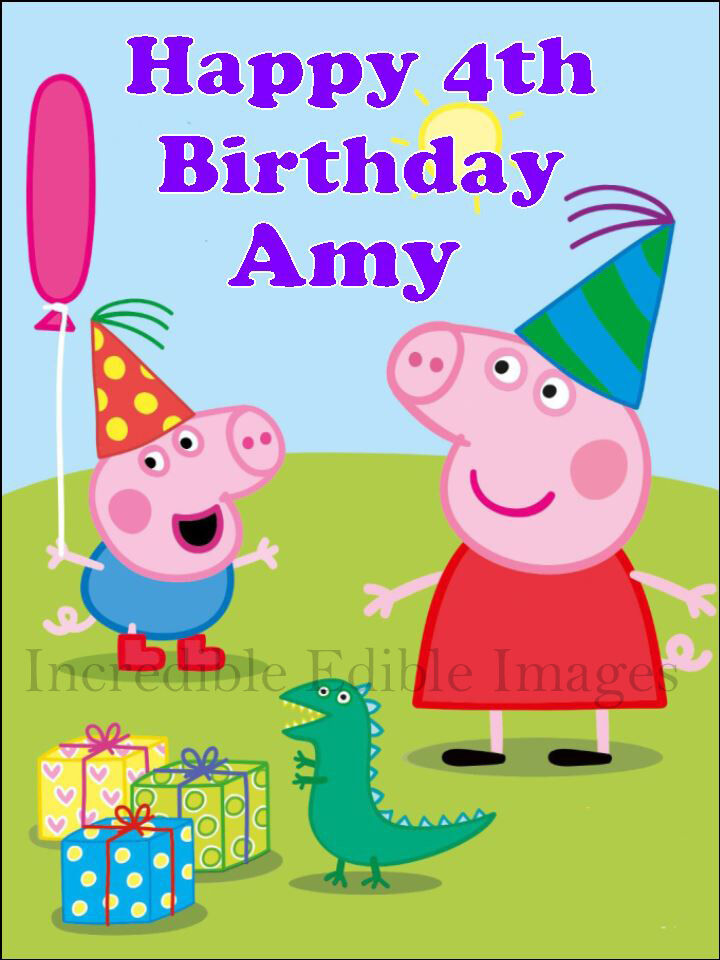 Peppa Pig George Edible ICING Personalised Cake Topper Party Decoration
