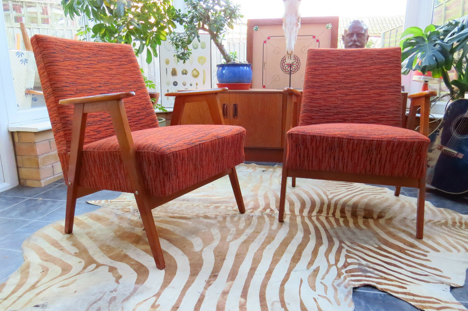 Pair Of Orange East German / Danish Style Cocktail Lounge Armchairs C1965 J16A5