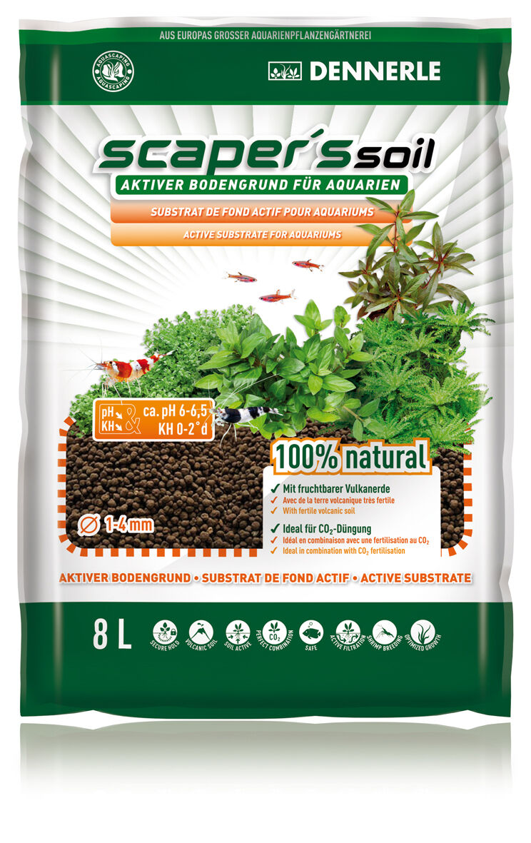 Dennerle Scaper's Soil - 8L - Active Scapers Substrate for Shrimp and Plants NEW