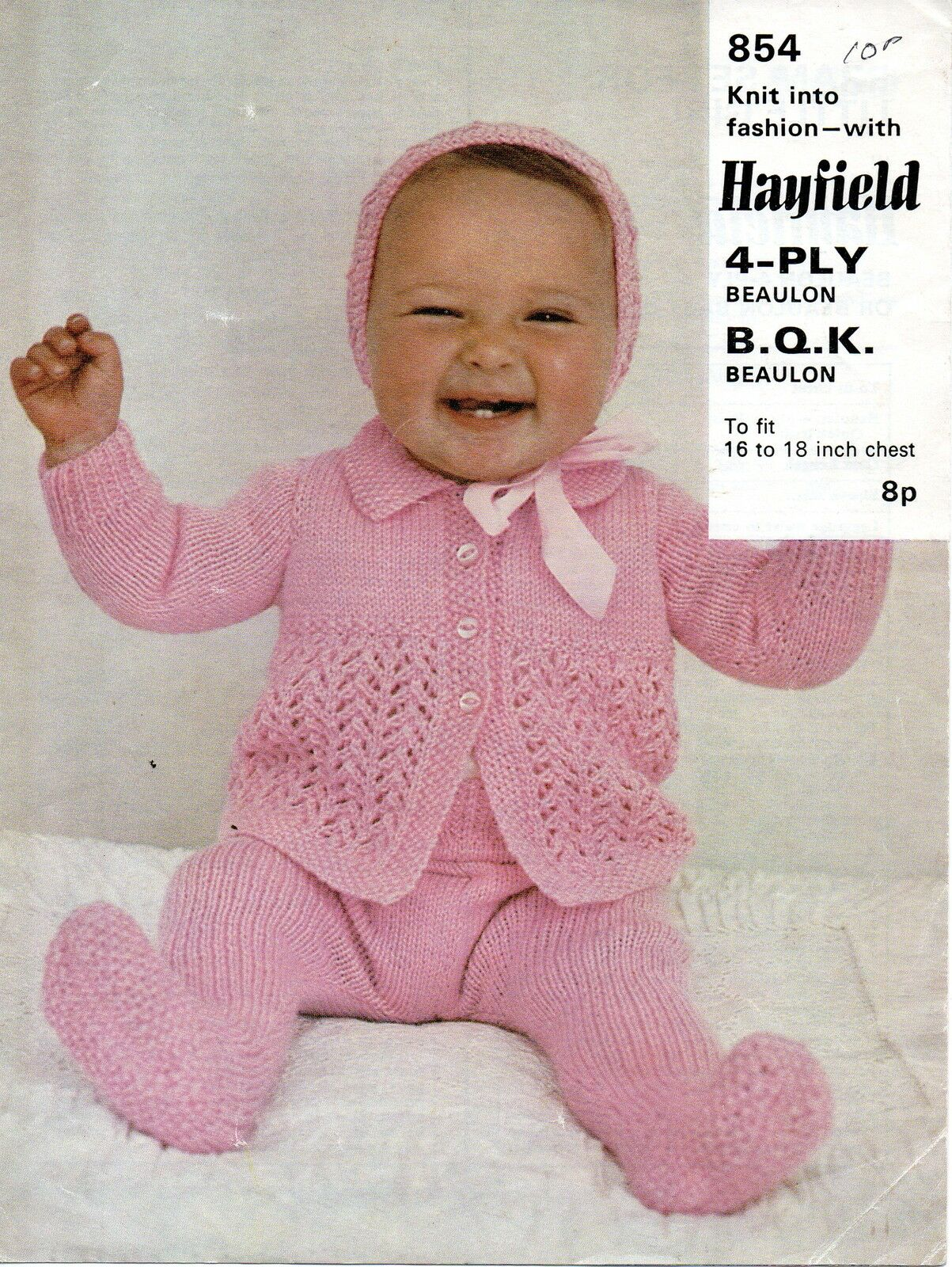 Hayfield Knitting Patterns For Babies : Hayfield 854 Vintage Baby Knitting Pattern 16-18