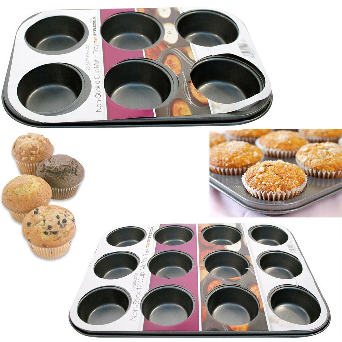 6 cups metal baking muffin cup cake tray pan mould quality
