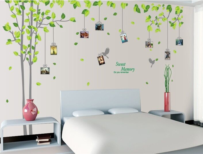 GREEN FAMILY TREE Vinyl Wall Decal Sticker Art Mural baby kids BED ...