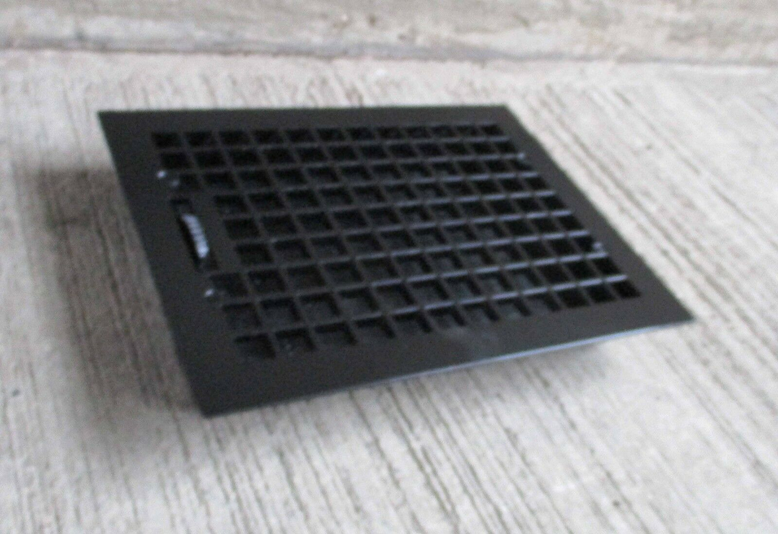 """Antique all Cast Iron Floor Grate,w/louvers - Refinished- Black-[16"""" x 12""""] (#7)"""