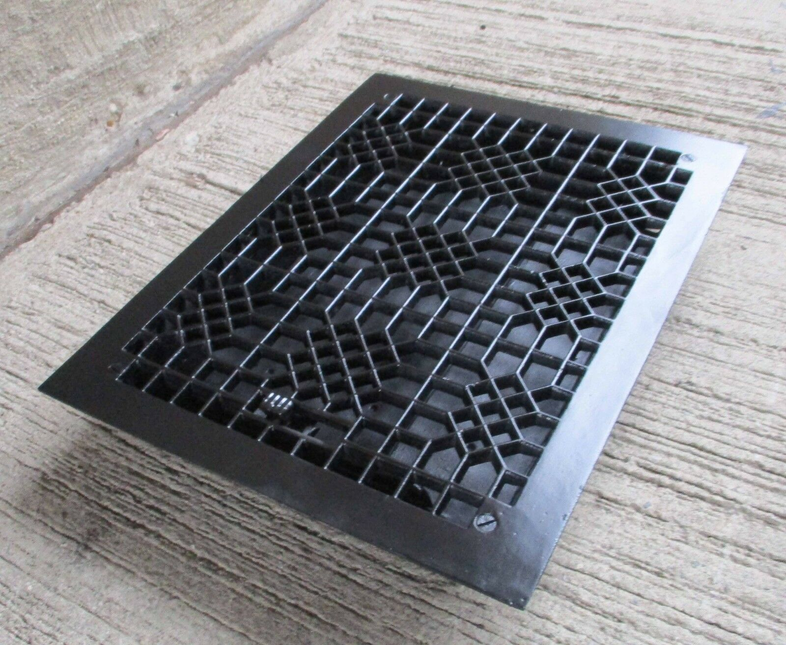 "Antique all Cast Iron Floor Grate w/louvers -Refinished- Black- [16"" x 12""] (#6)"