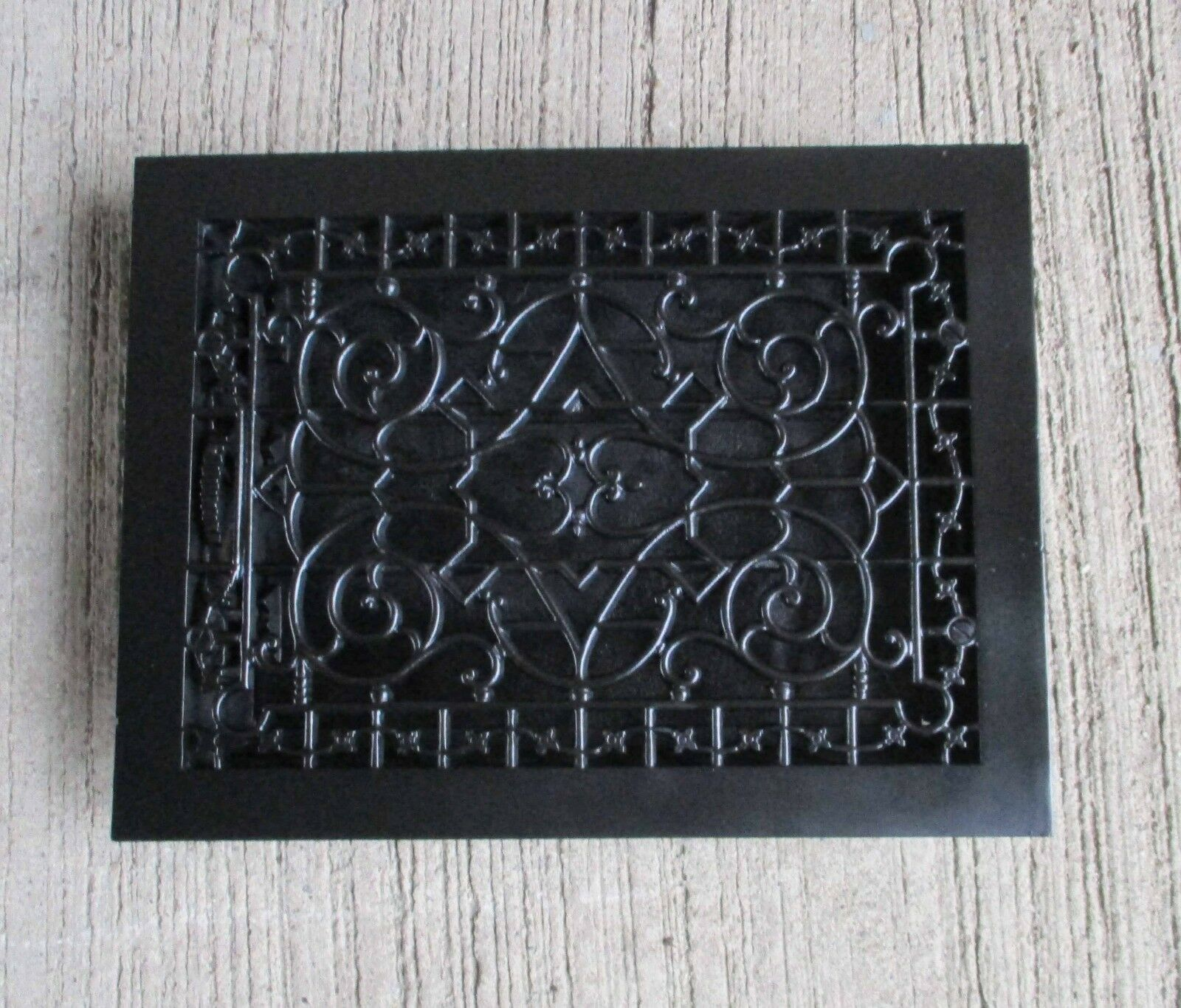 "Antique all Cast Iron Ornate Floor Grate - Refinished-Black-[16"" x 12""] (#8)"