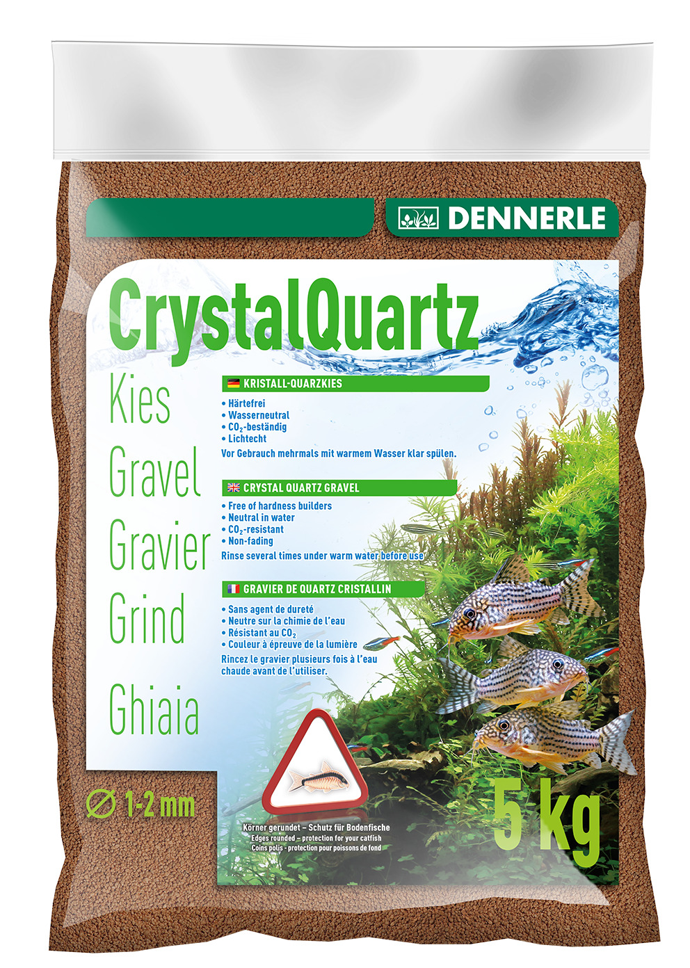 Dennerle Crystal Quartz Gravel Light Brown 5 kg Inert for Aquarium Fish Tank